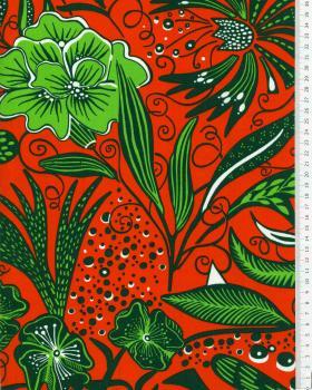 Polynesian fabric ANEMONA Red - Tissushop
