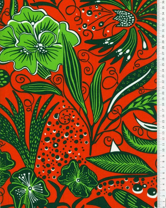 Tissu Polynésien ANEMONA Rouge - Tissushop