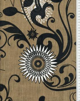 Toile de jute imprimée Mandala Naturel - Tissushop