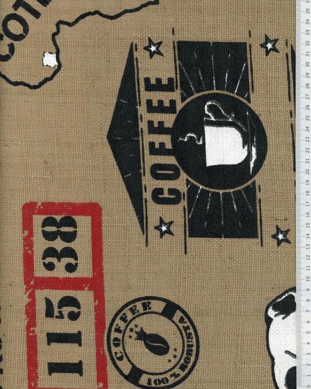 Toile de jute imprimée Sac de café Naturel - Tissushop