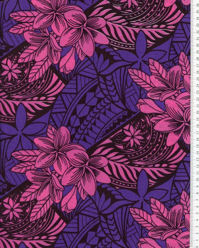 Tissu Polynésien HUAHINE Violet - Tissushop