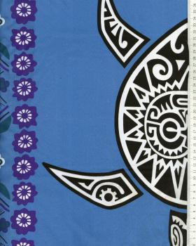 Tissu Polynésien MAHITI Bleu - Tissushop