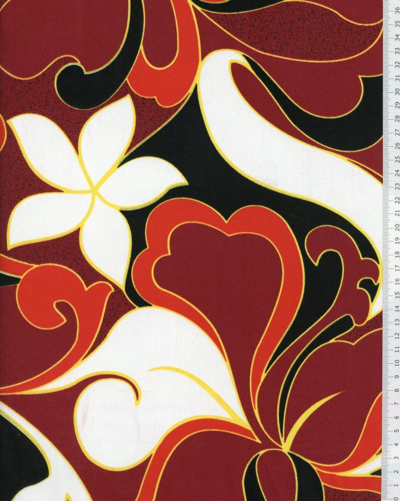 Polynesian Fabric HIRIATA Bordeaux - Tissushop