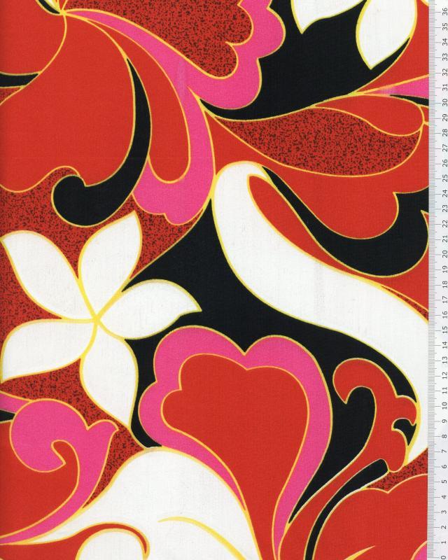 Tissu Polynésien HIRIATA Rouge - Tissushop
