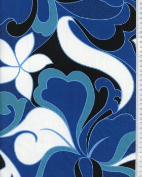 Tissu Polynésien HIRIATA Bleu - Tissushop