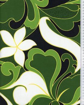Tissu Polynésien HIRIATA Vert - Tissushop