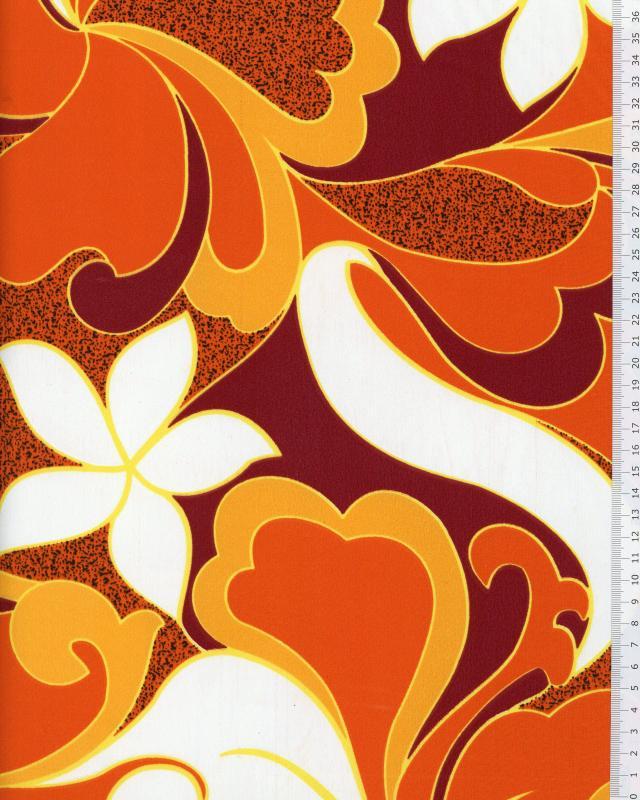 Tissu Polynésien HIRIATA Orange - Tissushop