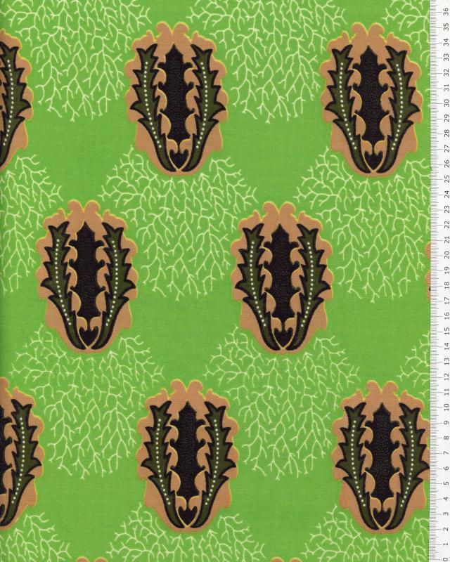 Véritable WAX - Tissu Africain Douala Vert - Tissushop