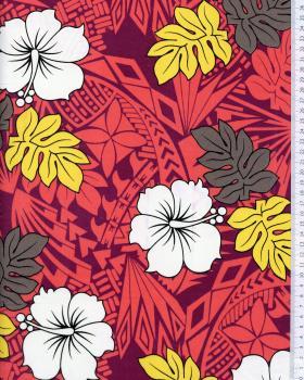 Tissu Polynésien IMIRAU Rouge - Tissushop
