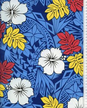 Tissu Polynésien IMIRAU Bleu - Tissushop
