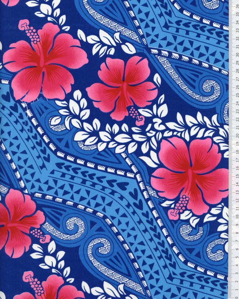 Tissu Polynésien MIAMO Bleu - Tissushop