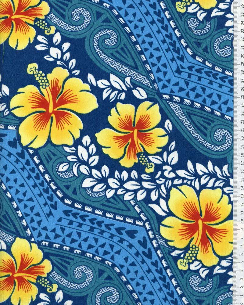 Polynesian Fabric MIAMO Turquoise Blue - Tissushop