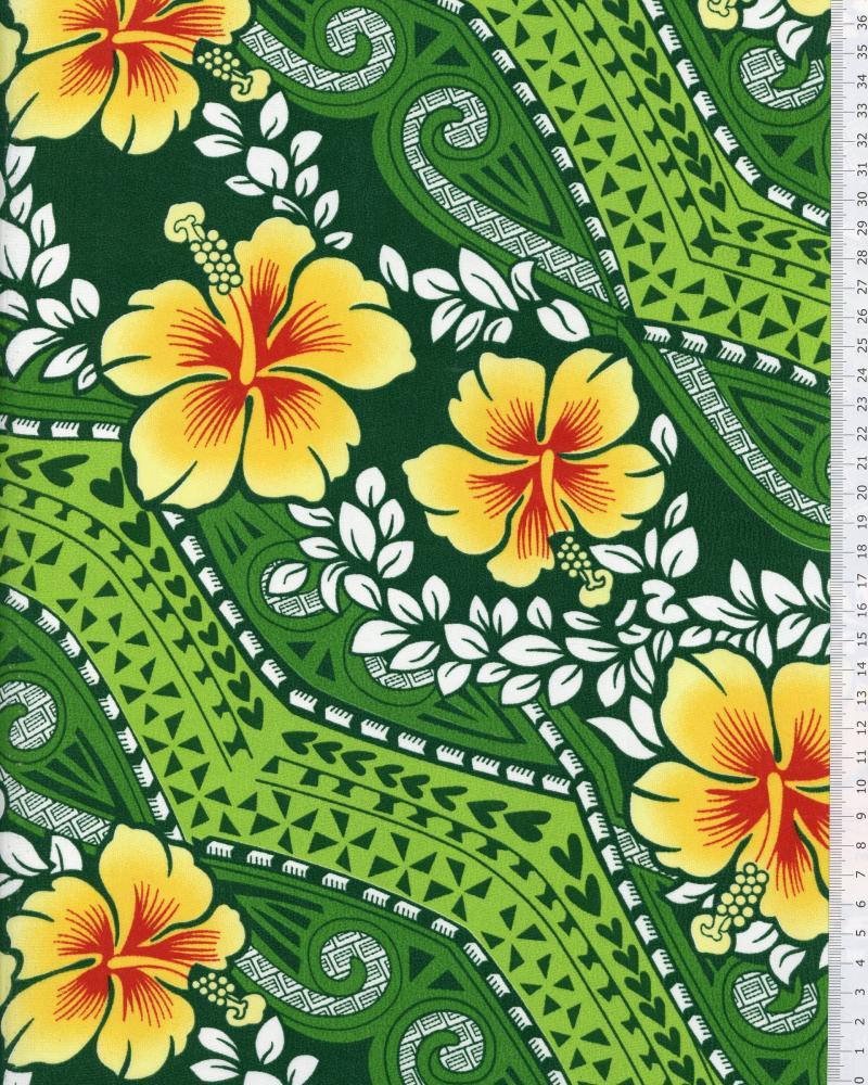 Polynesian Fabric MIAMO Green - Tissushop