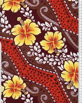 Tissu Polynésien MIAMO Marron - Tissushop