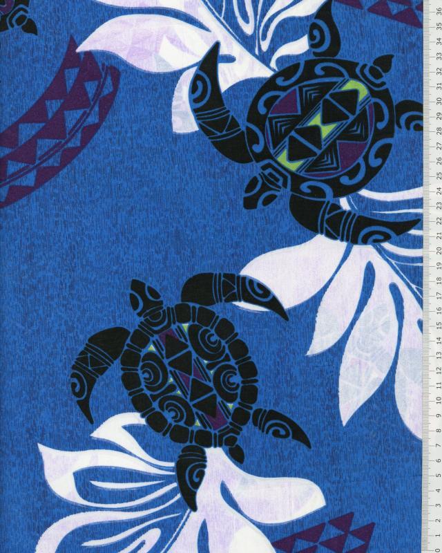 Tissu Polynésien WAILANI Bleu - Tissushop