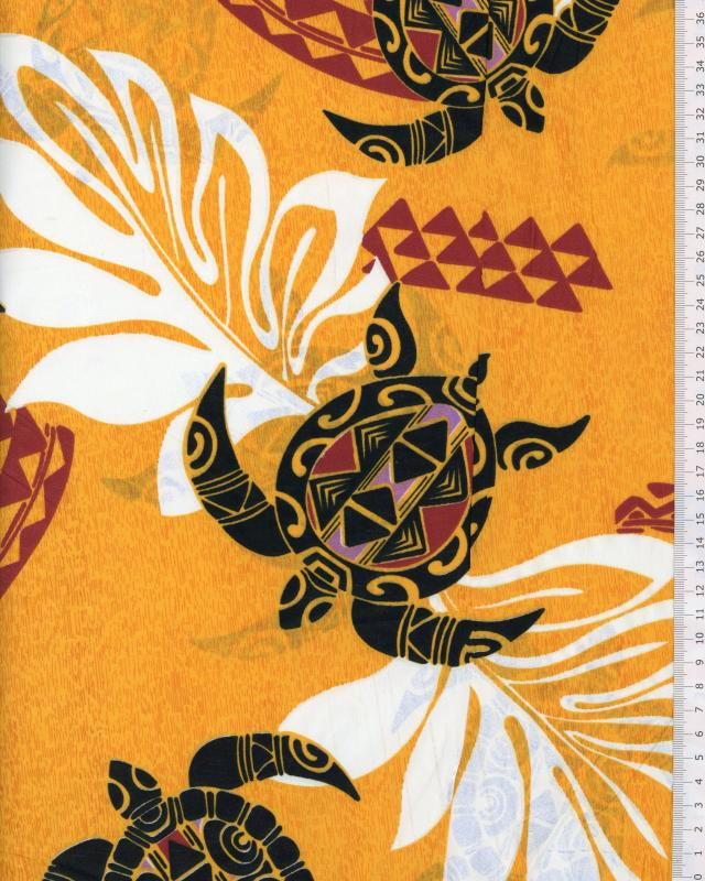 Polynesian Fabric WAILANI Orange - Tissushop