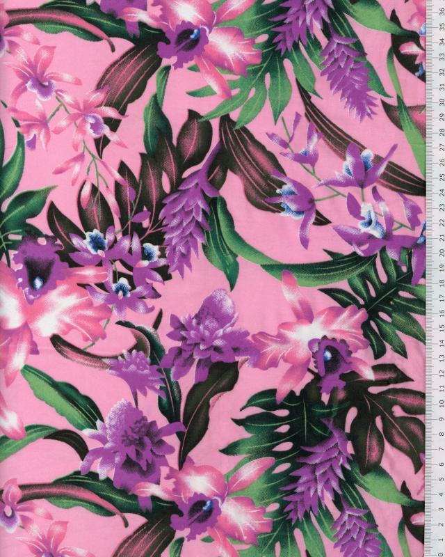 Tissu Polynésien WAIMEA Rose - Tissushop