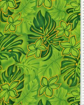Tissu Polynésien WOA Vert - Tissushop