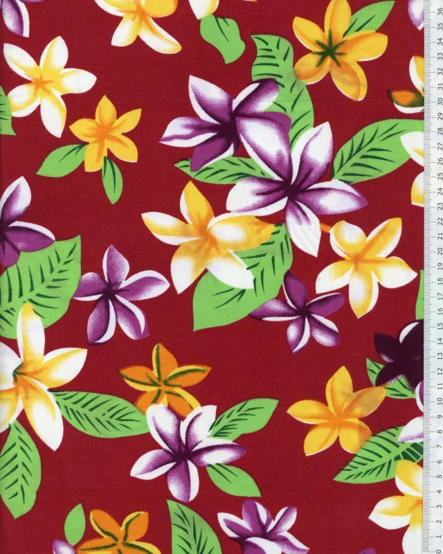 Tissu Polynésien WEHI Bordeaux - Tissushop