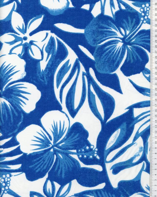 Tissu Polynésien WAILELE Bleu - Tissushop