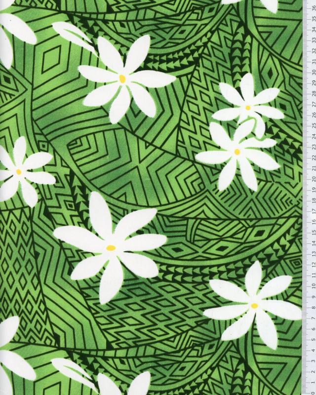 Polynesian Fabric WEKIU Green - Tissushop