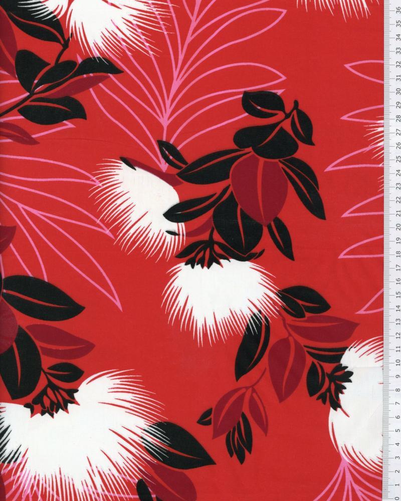 Tissu Polynésien KAEMI Rouge - Tissushop