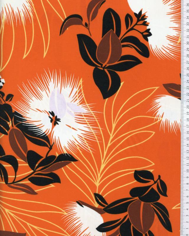 Polynesian Fabric KAEMI Orange - Tissushop