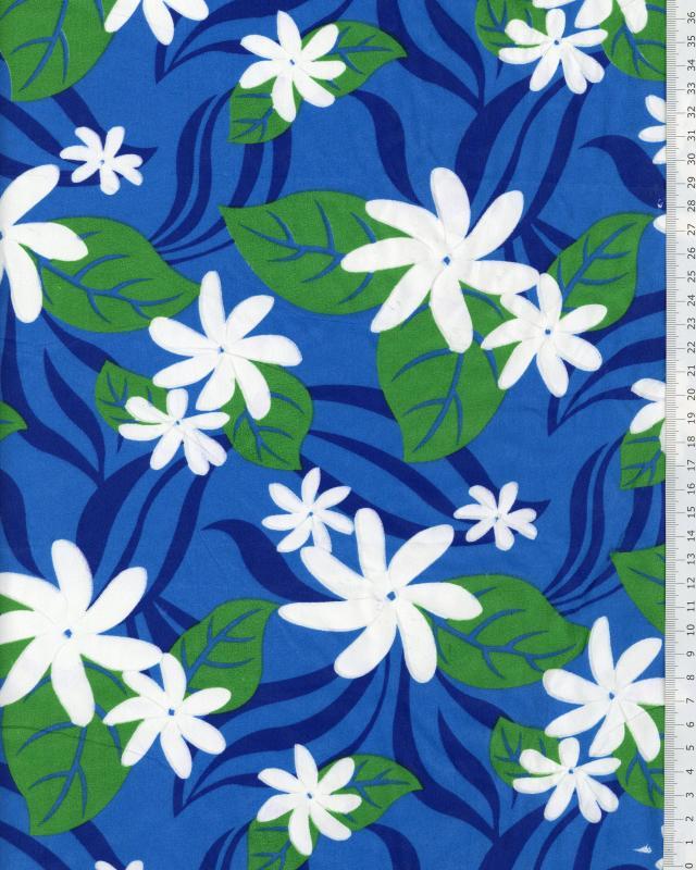 Polynesian Fabric HALOA Blue - Tissushop