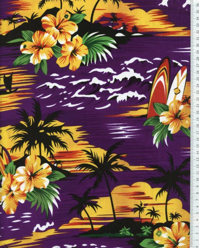 Tissu Polynésien KAHAIA Violet - Tissushop