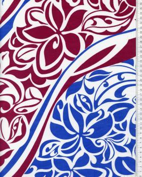 Tissu Polynésien KAIPO Bordeaux - Tissushop
