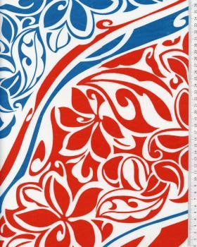 Tissu Polynésien KAIPO Bleu Turquoise - Tissushop