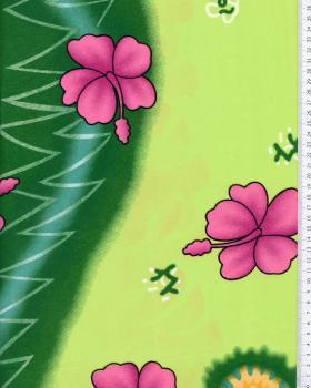 Tissu Polynésien KALANI Vert Spring - Tissushop