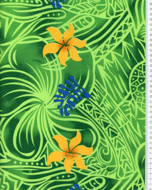 Tissu Polynésien KAIMI Vert - Tissushop