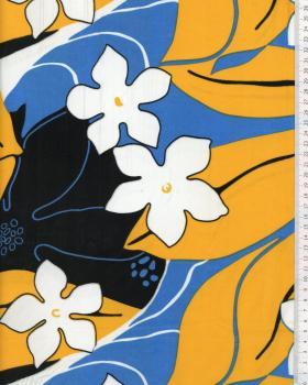 Tissu Polynésien KAHA Bleu Turquoise - Tissushop