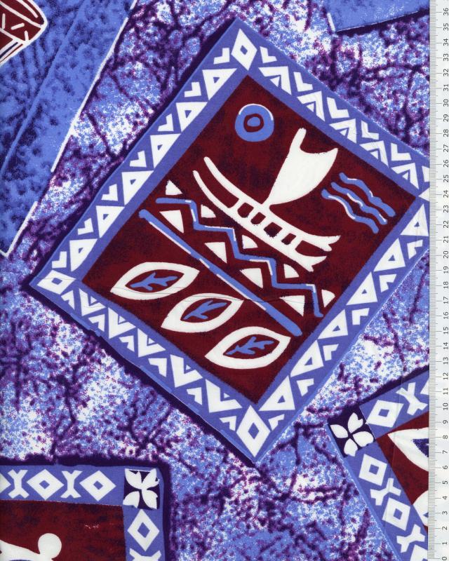 Tissu Polynésien KAMILO Bleu - Tissushop