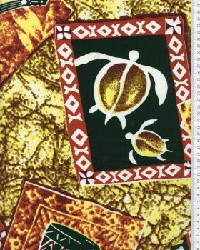 Tissu Polynésien KAMILO Jaune - Tissushop