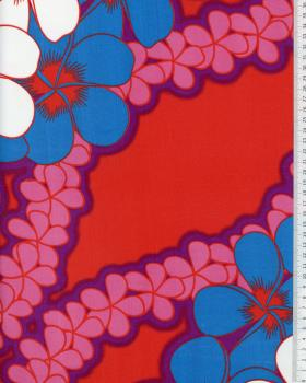 Tissu Polynésien KATAI Rouge - Tissushop