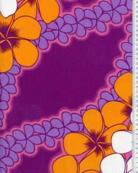 Tissu Polynésien KATAI Violet - Tissushop