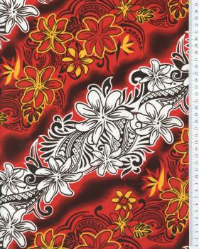 Tissu Polynésien KARI Bordeaux - Tissushop
