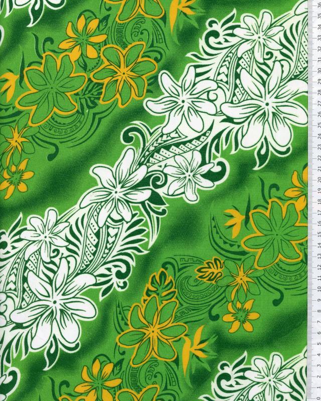 Polynesian Fabric KARI Green - Tissushop