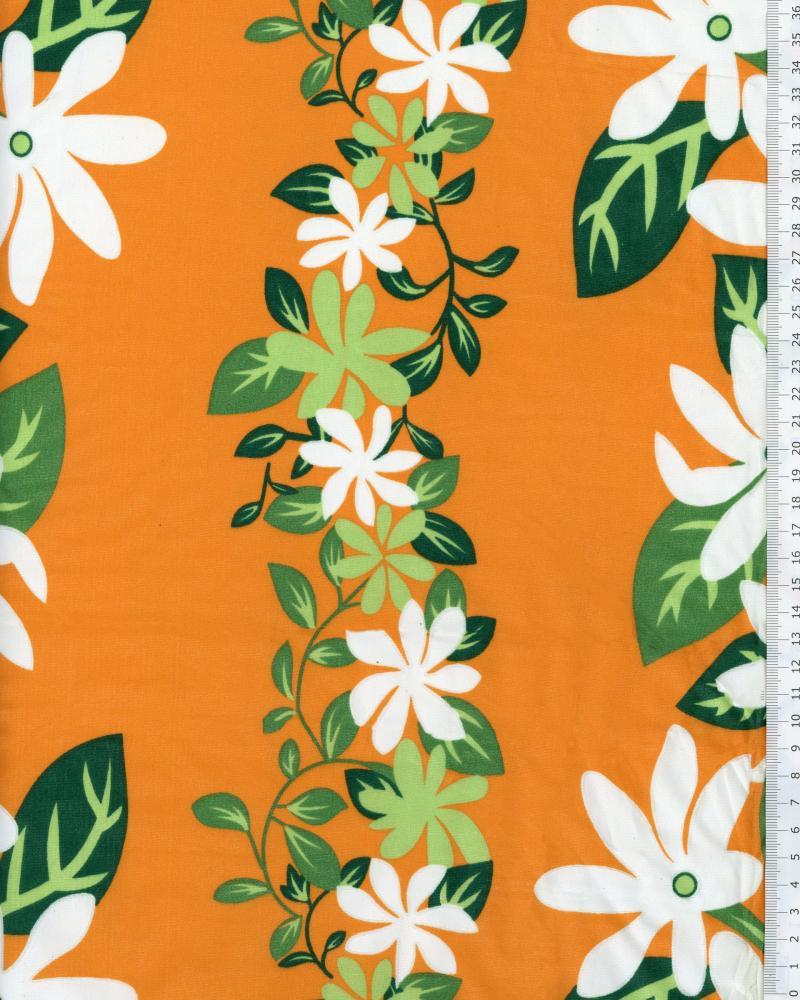 Tissu Polynésien KELA Orange - Tissushop
