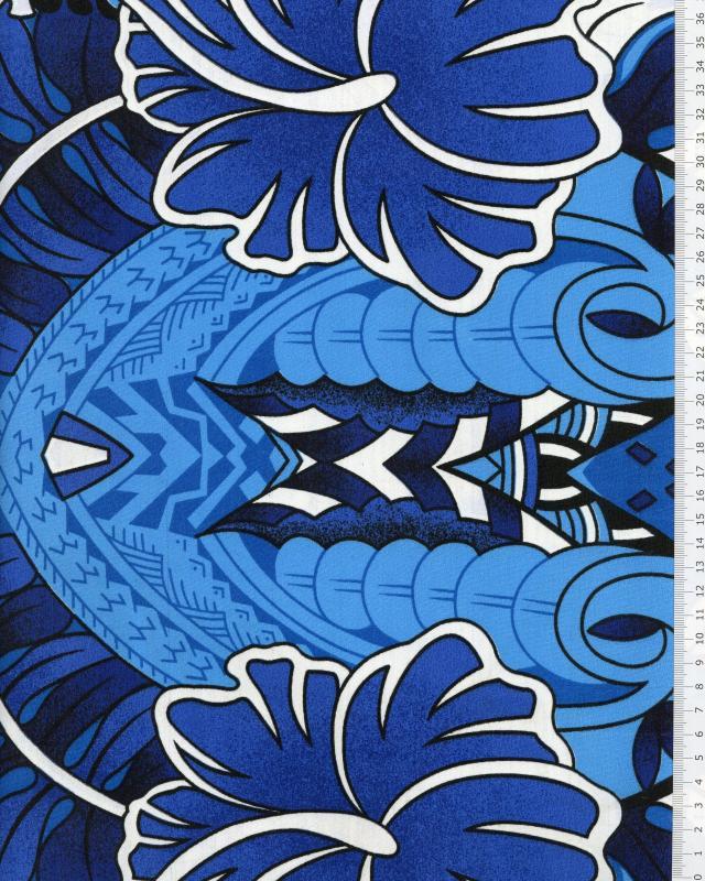 Polynesian Fabric TIHARA Blue - Tissushop