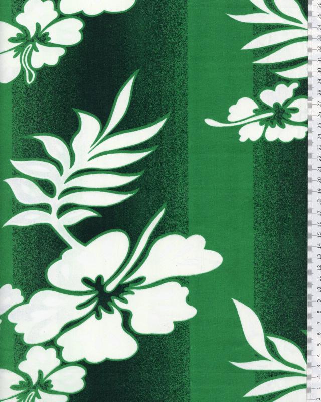 Tissu Polynésien KIVA Vert - Tissushop