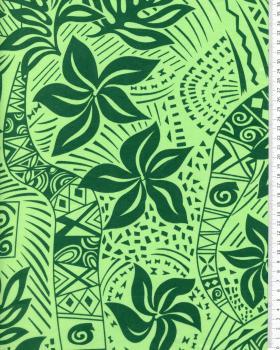 Tissu Polynésien ANIETTE Vert - Tissushop