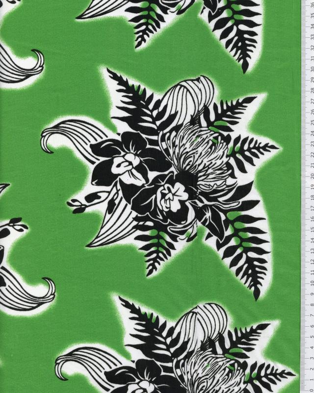 Polynesian Fabric ENOA Green - Tissushop