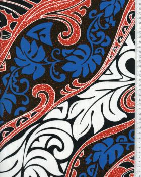 Tissu Polynésien VAIRANI Rouge - Tissushop