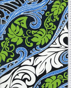 Tissu Polynésien VAIRANI Bleu - Tissushop