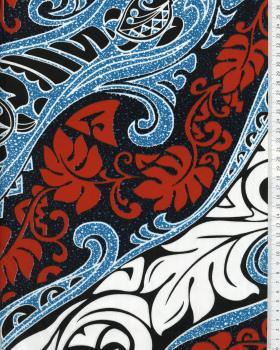 Tissu Polynésien VAIRANI Bleu Turquoise - Tissushop