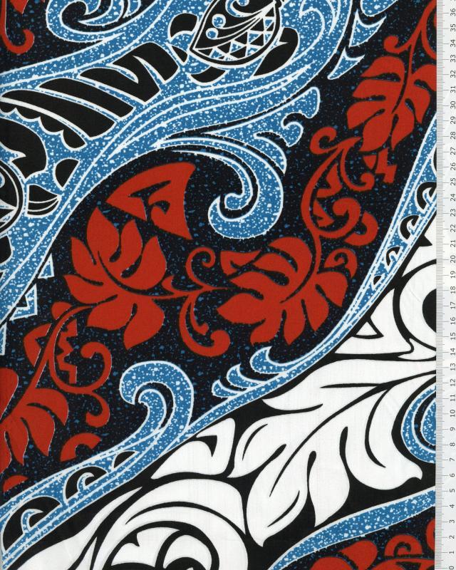 Polynesian Fabric VAIRANI Turquoise Blue - Tissushop