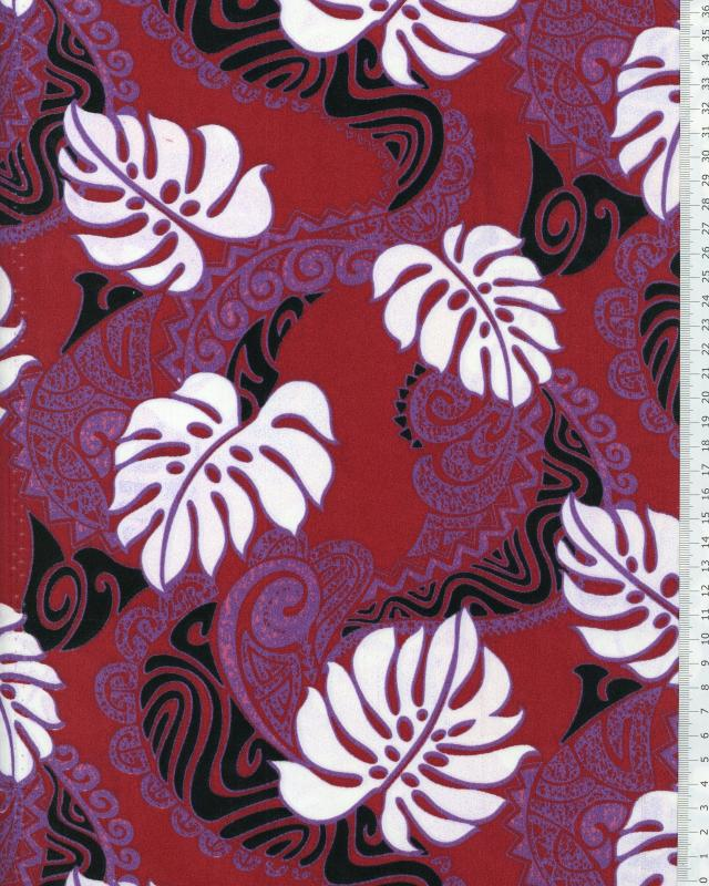 Polynesian Fabric RAO Bordeaux - Tissushop